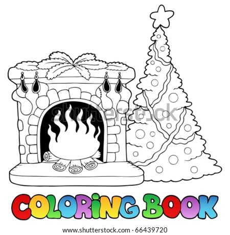Coloring book with fireplace - vector illustration. - stock vector