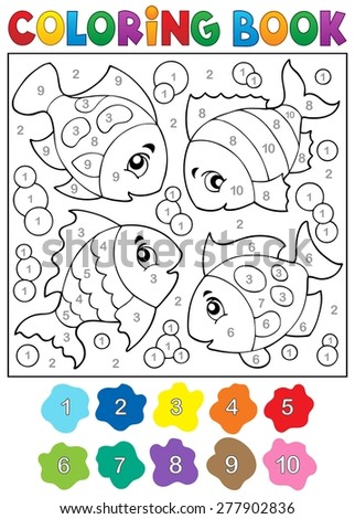 Coloring book with fish theme 3 - eps10 vector illustration. - stock vector