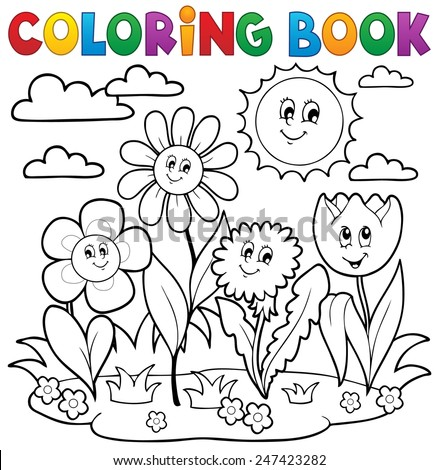 Coloring book with flower theme 7 - eps10 vector illustration. - stock vector