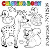 Coloring book with forest animals 2 - vector illustration. - stock vector