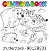 Coloring book with forest animals 3 - vector illustration. - stock vector