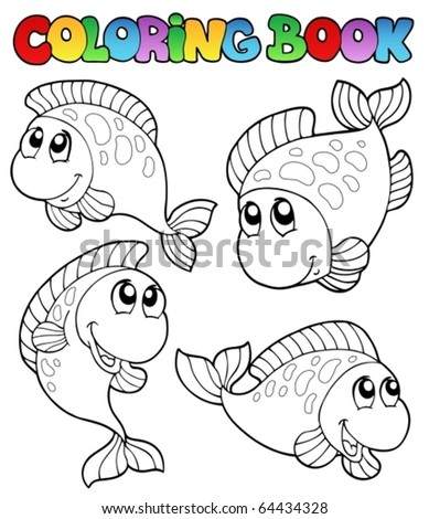 Coloring book with four fishes - vector illustration. - stock vector