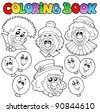 Coloring book with funny clowns - vector illustration. - stock vector