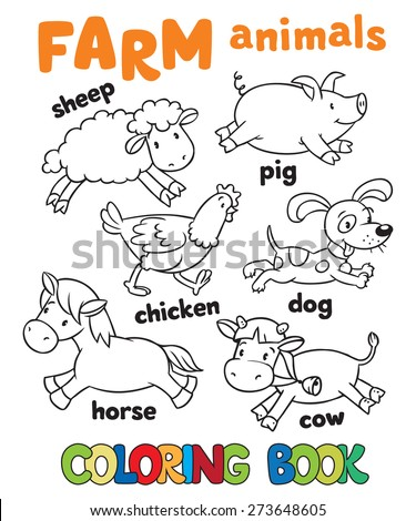 Coloring Book With Funny Farm Baby Animals Sheep And Pig Chicken Dog