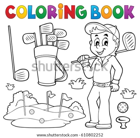Coloring book with golf theme - eps10 vector illustration.