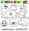 Coloring book with Halloween images - vector illustration. - stock photo