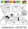 Coloring book with Halloween theme - vector illustration. - stock vector