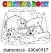 Coloring book with happy animals 2 - vector illustration. - stock vector