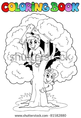 Coloring book with kids and tree - vector illustration. - stock vector