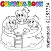 Coloring book with kids in pool - vector illustration. - stock vector