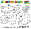 Coloring book with marine animals 1 - vector illustration. - stock vector