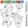 Coloring book with marine animals 3 - vector illustration. - stock vector