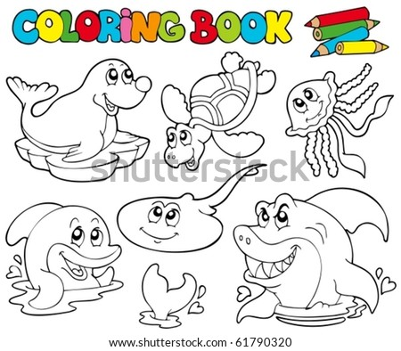 Coloring book with marine animals 1 - vector illustration.