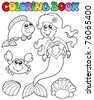 Coloring book with mermaid - vector illustration. - stock photo