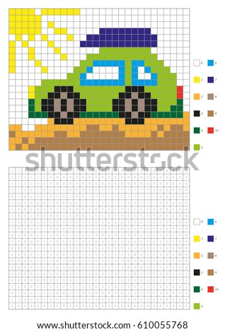 coloring book with numbered squares kids coloring page pixel coloring green car