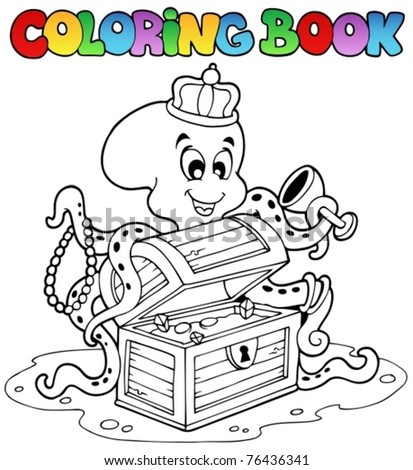 Coloring book with octopus - vector illustration. - stock vector
