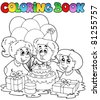 Coloring book with party theme 2 - vector illustration. - stock vector