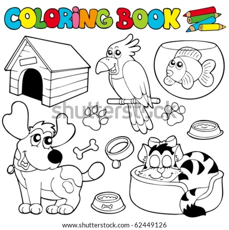 Coloring book with pets 1 - vector illustration. - stock vector