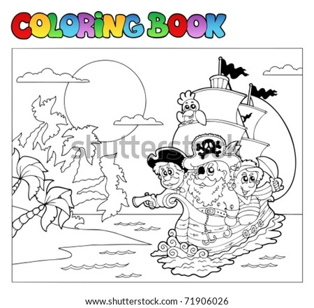 Coloring book with pirate scene 3 - vector illustration. - stock vector