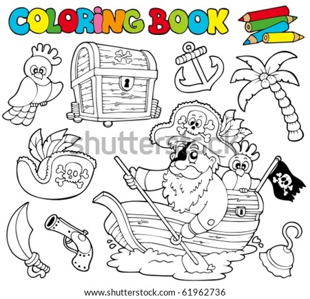 Coloring book with pirates 1 - vector illustration. - stock vector