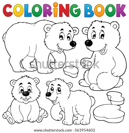 Coloring book with polar bears - eps10 vector illustration. - stock vector