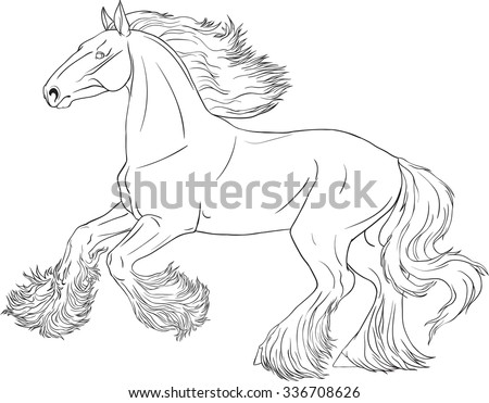 Coloring book with running horse Shire