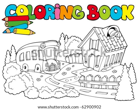 Coloring book with school and bus - vector illustration. - stock vector