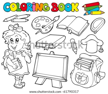 Coloring book with school theme 1 - vector illustration. - stock vector