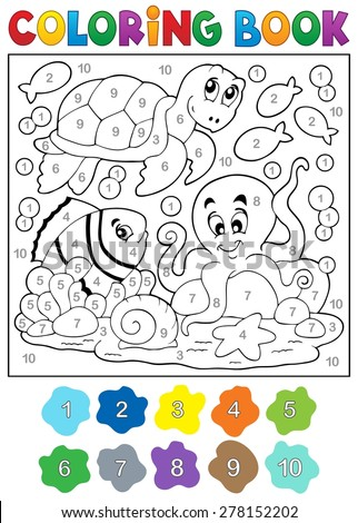 Coloring book with sea animals 4 - eps10 vector illustration. - stock vector