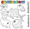 Coloring book with sea animals 2 - vector illustration. - stock photo