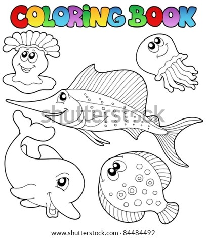 Coloring book with sea animals 2 - vector illustration. - stock vector