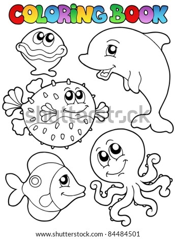 Coloring book with sea animals 1 - vector illustration. - stock vector