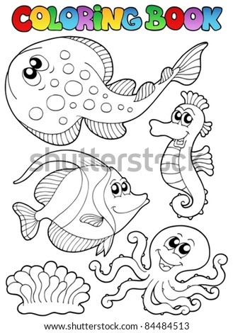 Coloring book with sea animals 3 - vector illustration. - stock vector