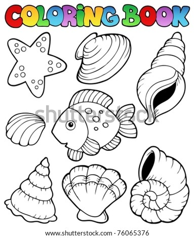 Coloring book with seashells - vector illustration. - stock vector