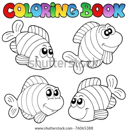 Coloring book with striped fishes - vector illustration. - stock vector