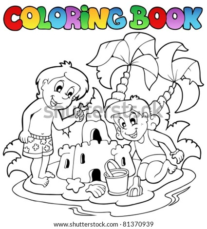 Coloring book with summer theme 1 - vector illustration. - stock vector