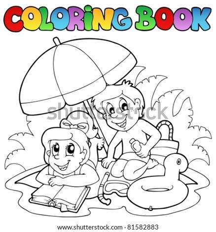 Coloring book with summer theme 2 - vector illustration. - stock vector