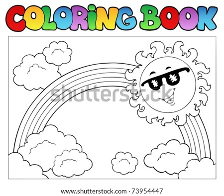 Coloring book with Sun and rainbow - vector illustration. - stock vector