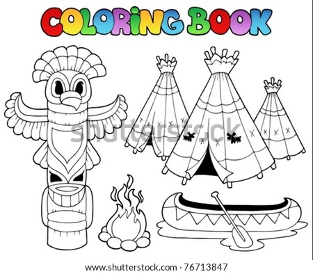 Coloring book with totem - vector illustration. - stock vector