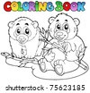 Coloring book with two pandas - vector illustration. - stock vector