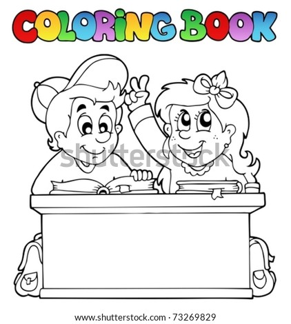 Coloring book with two pupils - vector illustration. - stock vector