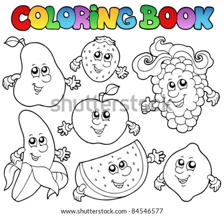 Coloring book with various fruits - vector illustration. - stock vector