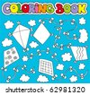 Coloring book with various kites - vector illustration. - stock vector