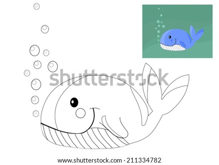Coloring book with whale - vector illustration. - stock vector