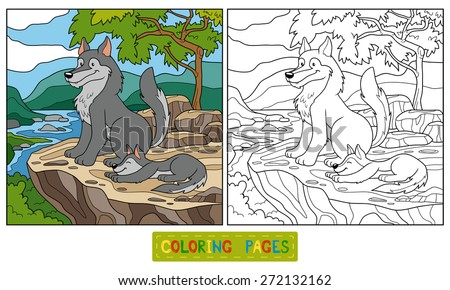Coloring book (wolf) - stock vector