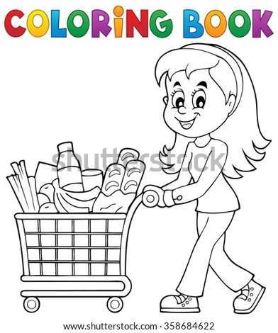 Stock images royalty free images vectors shutterstock for Grocery cart coloring page