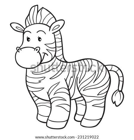 Coloring Book Zebra Stock Vector 231219022 - Shutterstock