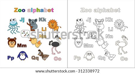 coloring book zoo alphabet letters learn to read isolated jelly fish