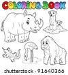 Coloring book zoo animals set 1 - vector illustration. - stock vector