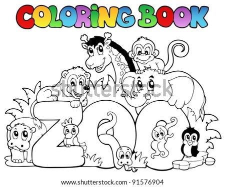 Coloring book zoo sign with animals - vector illustration. - stock vector